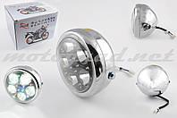 Фара светодиодная круглая (крепеж 165mm, многоцветная подсветка, металл) Feili