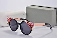 Солнцезащитные очки круглые Jimmy Choo  черные с камнями, фото 1