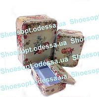 Подарочные коробки металлические Розы набор 3шт