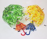 Прозрачный зонт-трость женский куполообразный в кленовых листьях по куполу