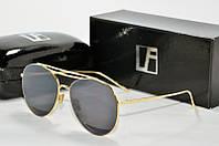 Солнцезащитные очки круглые Linda Farrow черные в золотой оправе, фото 1