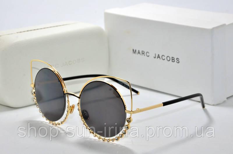 b6b9f2b5109a Солнцезащитные очки круглые Marc Jacobs черные в золотой оправе - SunLike в  Киеве