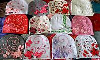 Детские весенние трикотажные шапки в цветы и камни для девочек от 3 лет до взрослых размеров