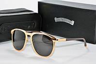 Солнцезащитные очки круглые Chrome Hearts черные в золоте, фото 1