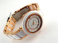 Часы женские Alberto Kavalli золотистый браслет с белыми вставками, фото 1