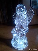 Светильник хамелеон/ ночник с цветной подсветкой прозрачный Ангел.