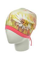Весенняя трикотажная шапочка с утяжкой сзади для девочек, BARBARAS (Польша)