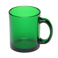 Чашка Фрост стеклянная прозрачная, 300 мл, зеленая, от 10 шт