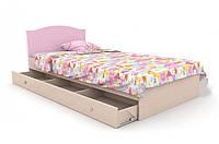 """Детская деревянная кровать """"Kiddy 3"""" с ящиком (120х190 см) ТМ Вальтер-С Венге/Розовый KKY-1.12.8"""