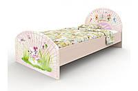 """Подростковая деревянная кровать с фотопечатью """"Веер"""" без ящиков (120х190 см) ТМ Вальтер-С Венге K2-1.12.29"""