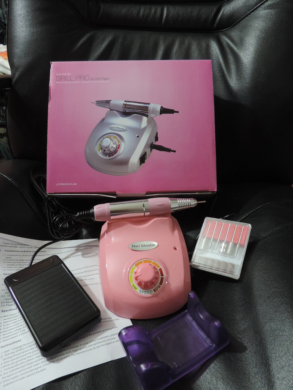 Профессиональный фрезер для маникюра - 35 000 оборотов в минуту, мощность 60 Вт. Nail Master ZS-603. Розовый.