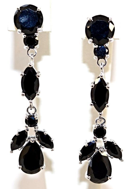 Серьги вечерние.Камень: чёрный циркон. Высота серьги: 4,5 см. Ширина: 12 мм.