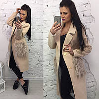 Длинное кашемировое пальто с мехом