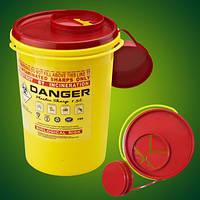 Одноразовый круглый контейнер желто/красный DISPO объемом 1,0 л