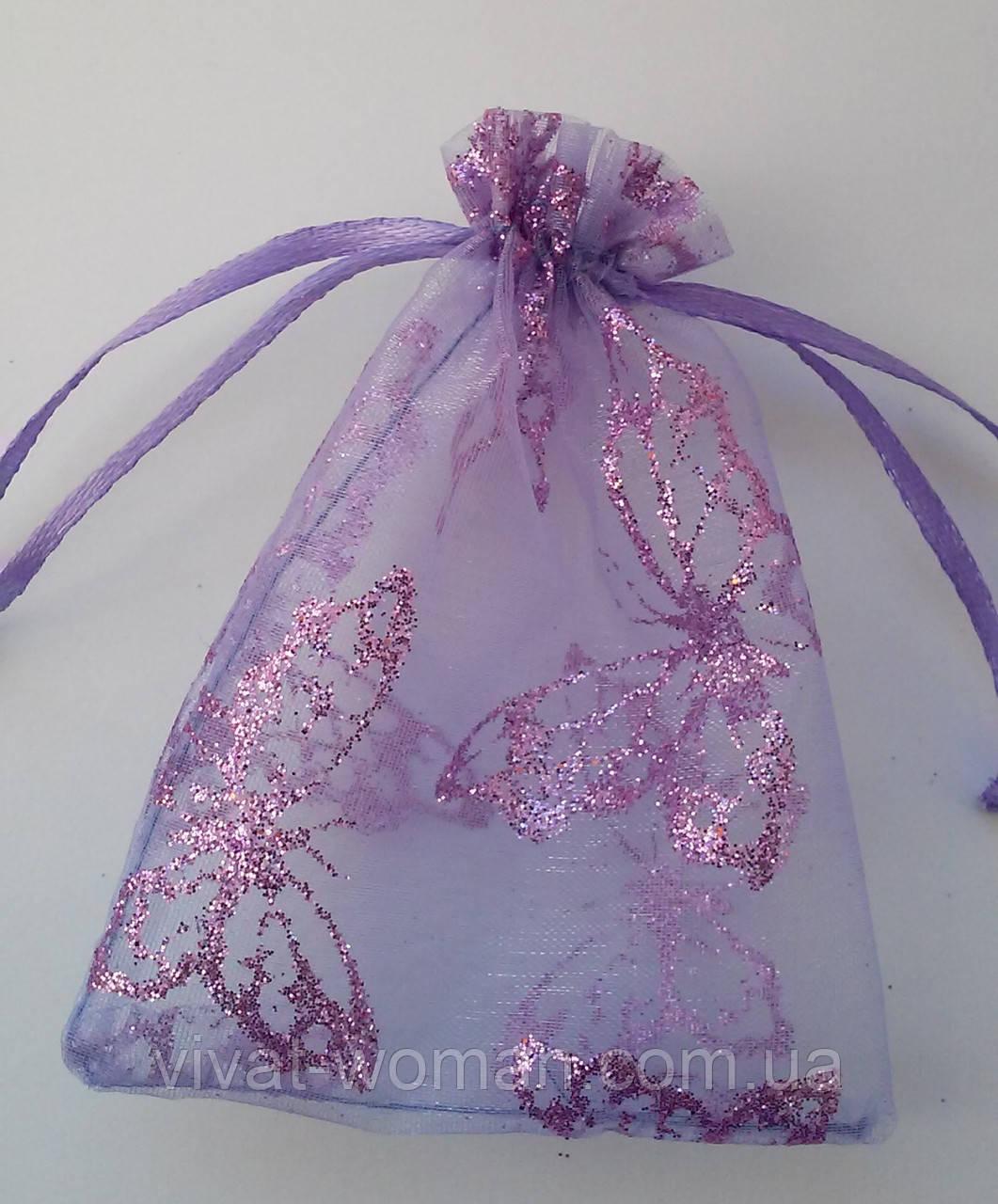 Мешочки сувенирные, органза фиолетовая с бабочками 7х9 см, 1 шт. Производство Украина.