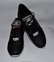 Мужские кожаные кроссовки SPLINTER черные, серо-черная подошва, серая резинка