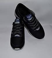 Мужские кожаные кроссовки SPLINTER черные с синей кожаной вставкой, три серые полоски