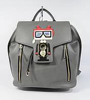 Кожаный рюкзак городской L&D 96276 серый, 29*31*19 см