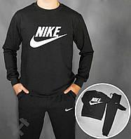 Спортивный костюм Nike черного цвета с логотипом на груди, фото 1