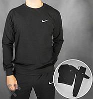 Спортивный костюм Nike черного цвета с белым логотипом сбоку, фото 1