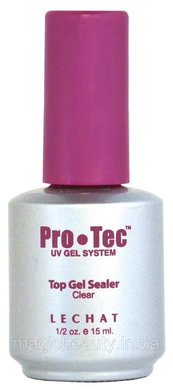 Lechat PRO-TEC Top Gel Sealer - Прозрачный гель - закрепитель с липким слоем с кисточкой, 15 мл