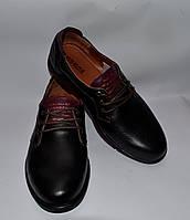 """Мужские кожаные туфли комфорт,""""Konors"""", черные на языке и на пятке бордовая кожаная вставка"""