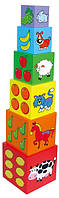 """Набор кубиков Viga Toys """"Пирамидка"""", деревянные кубики с буквами и цифрами, детская пирамидка"""