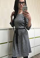 Стильное женское платье из трикотажа серое