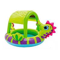 Детский надувной бассейн INTEX 57110  с навесом Морской конек