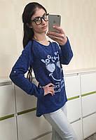 Стильная женская трикотажная блуза синяя