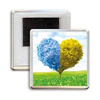 """Украинский акриловый сувенирный магнит на холодильник """"Блакитно-жовте дерево"""""""