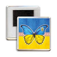 """Украинский акриловый сувенирный магнит на холодильник """"Метелик"""""""