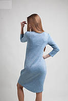 Трикотажное однотонное платье голубого цвета с карманами