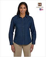 Женская джинсовая рубашка Harriton® M550W (США) Dark Denim, с длинным рукавом, 100% хлопок