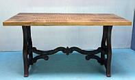 Стол CAST IRON LEG CONSOLE TABLE. Натуральное дерево и чугун. Цвет медовый. Ручная работа. Сделано в Индии.