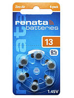 Батарейка для слуховых аппаратов Renata ZA13-D6 (PR48, DA13X, 310mAh, аналог AG5)