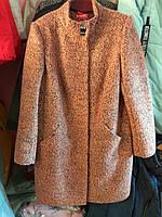 Пальто букле коричневое батал