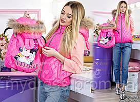 Family Look Парные жилеты Minnie с натуральным мехом