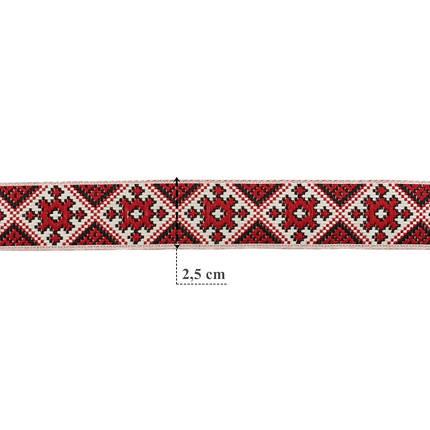 Лента арт.288 2,5 см. украинский орнамент, фото 2