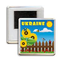 """Украинский акриловый сувенирный магнит на холодильник """"UKRAINE - УКРАЇНА"""""""