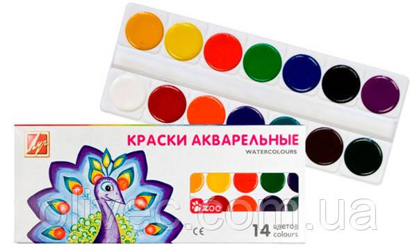 """Фарби акварельні """"Промінь Zoo"""" 14 кольорів"""