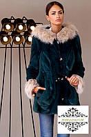 Шикарная шуба-парка из меха канадской норки,отделка по капюшону и манжеты мех рыси,по талии кулиска,длина 75см