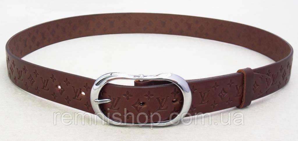 Женский коричневый кожаный пояс Louis Vuitton