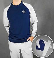 Спортивный костюм Adidas синего цвета с серыми рукавами серый низ