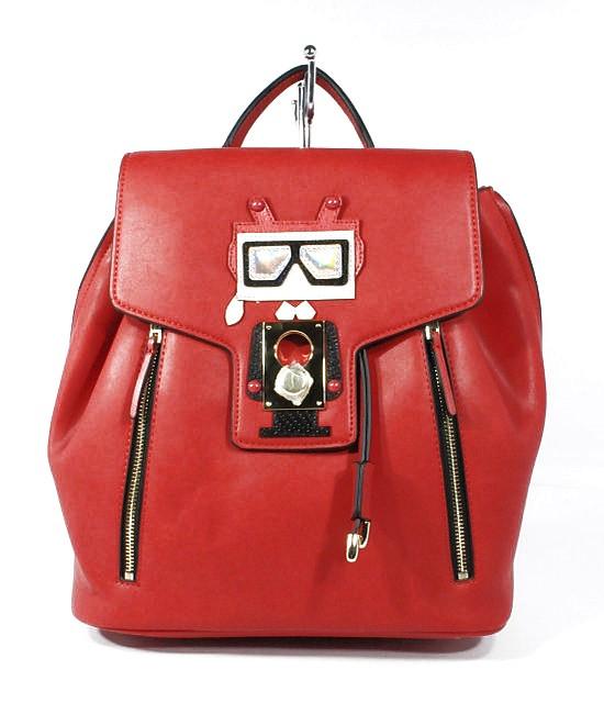 Рюкзак женский средний кожаный красный 29*31*16 см, L&D 96276