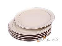 """Набор  фарфоровых десертных тарелок DT-001""""Белая с золотой каймой"""",   17,5 см"""