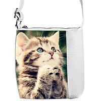 Белая детская сумка для девочки Кошка