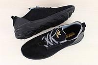 Замшевые мужские черные кроссовки Адидас