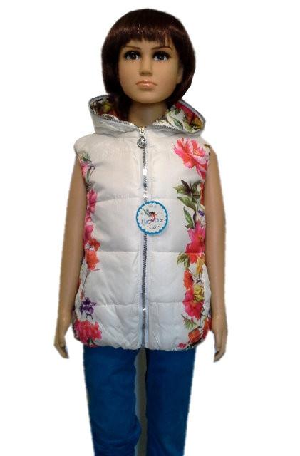 Утепленная стеганная жилетка на девочку 2 -7 лет