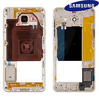 Средняя часть корпуса для Samsung Galaxy A5 (2016) A510, 2 sim, золотистая, оригинал
